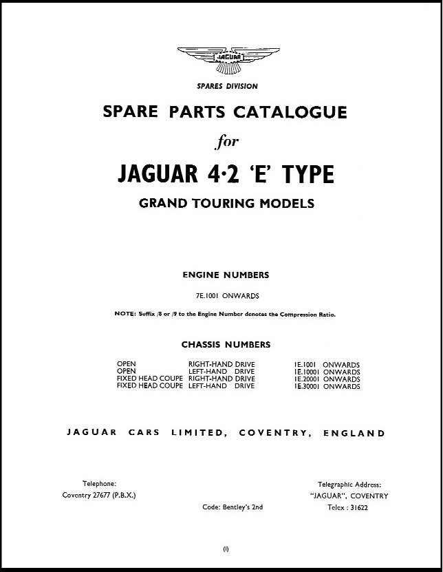 series 1 jaguar e type series 1 4 2 parts catalog j 37, xkebooks com jaguar e type series 1 wiring diagram at bayanpartner.co