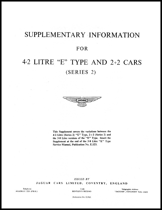 jaguar e type series 2 supplementary information service manual rh xkebooks com Psychology Manuals APA Format Example